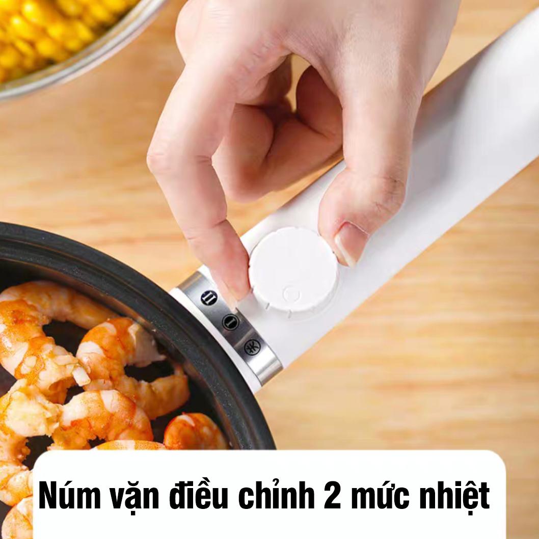 Nồi lẩu điện mini đa năng công suất 600W dung tích 1.5chống dính ca nấu mì nồi hấp trứng