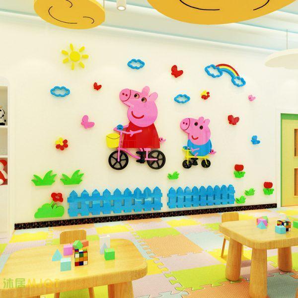 Tranh dán tường 3d cho bé, tranh mica 3D, Gia đình pepa pig, trang trí mầm non, trang trí khu vui chơi trẻ em