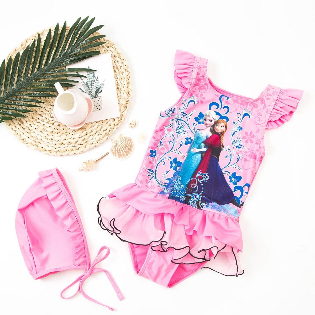 Bộ đồ bơi một mảnh hoạ tiết công chúa kèm nón cho bé gái DBBG36