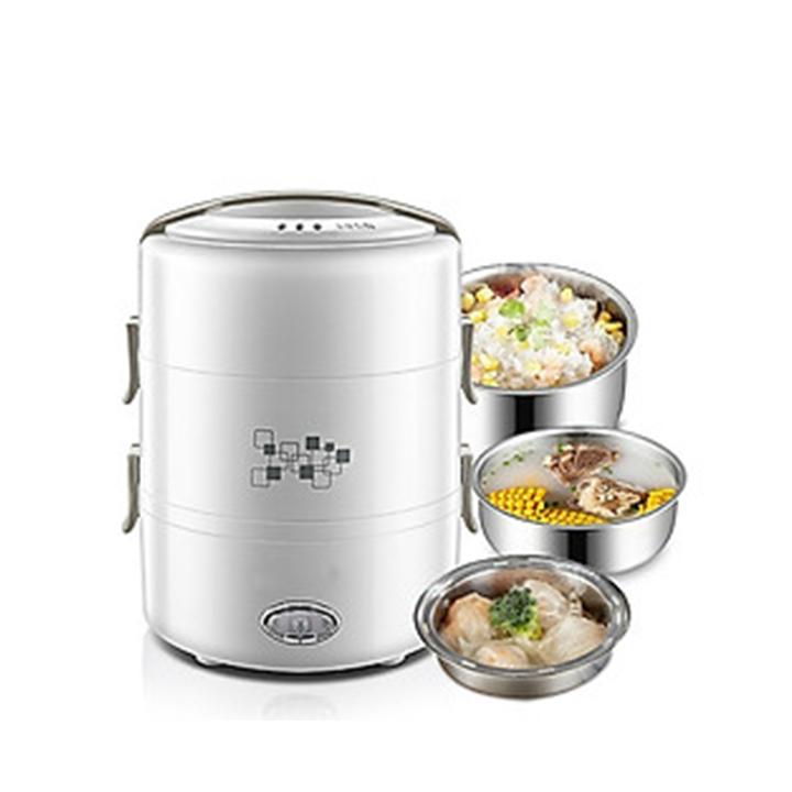 Hộp cơm điện hâm nóng và nấu chín đồ ăn 3 ngăn inox cao cấp dung tích 2 lít