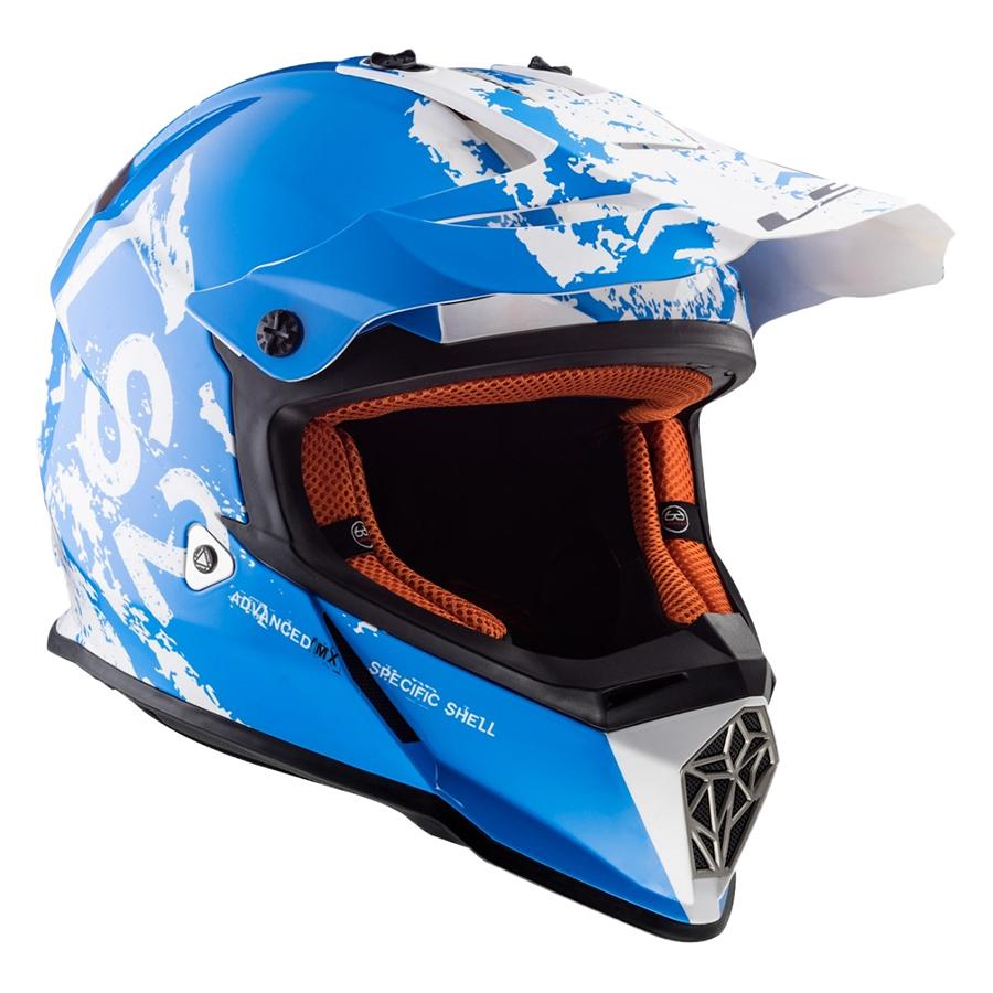 Mũ Bảo Hiểm Fullface Off Road LS2 MX437 Fast Spot White Blue