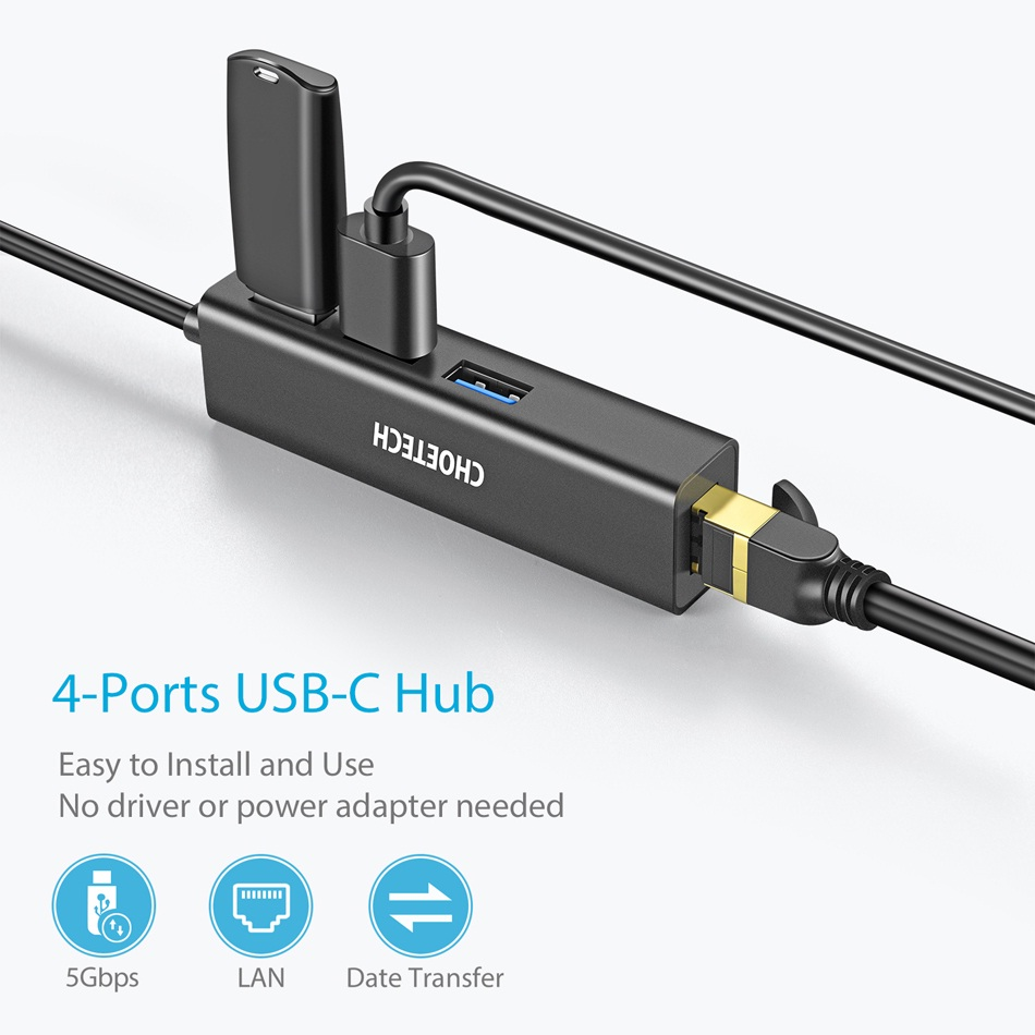 Hub Adapter chuyển đổi 4 in 1 Type-C ra 3 cổng USB 3.0 & cổng LAN RJ45 hiệu CHOETECH U02BK dùng cho Macbook / Laptop (tốc độ cao, kết nối nhiều thiết bị, kết nối internet có dây) - Hàng chính hãng