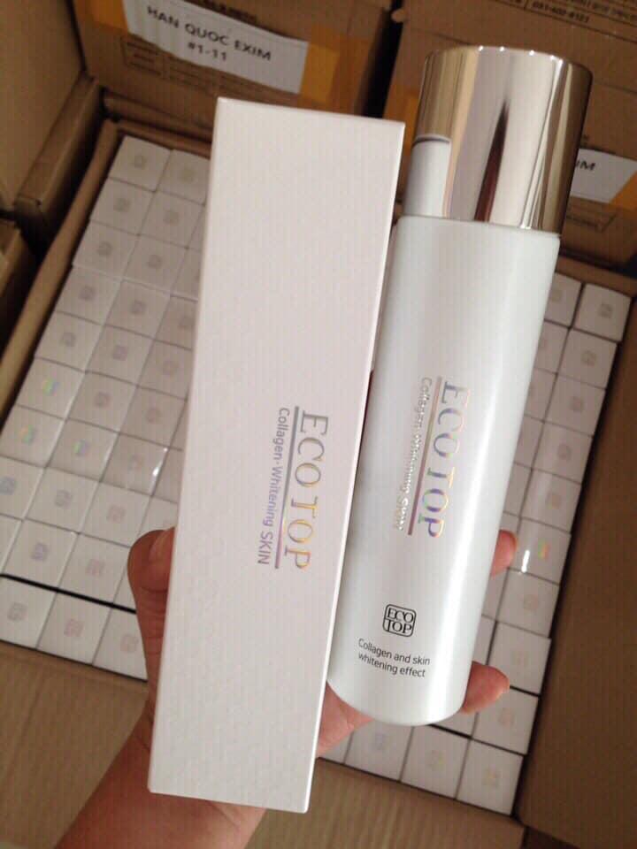 Nước hoa hồng collagen trắng da Ecotop tặng 3 mặt nạ Jant Blanc