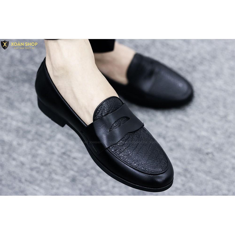 Giày Da Nam Giá Rẻ Chất Liệu Bò 100% Đế Cao Su Đúc Mã G017-1 Màu Đen