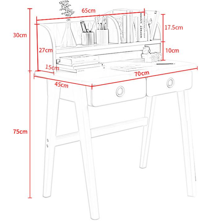 Bàn ghế học sinh tiểu học thông minh chống gù 70cm - Bàn học sinh kèm giá sách 2 ngăn kéo - Bàn học cho bé đẹp