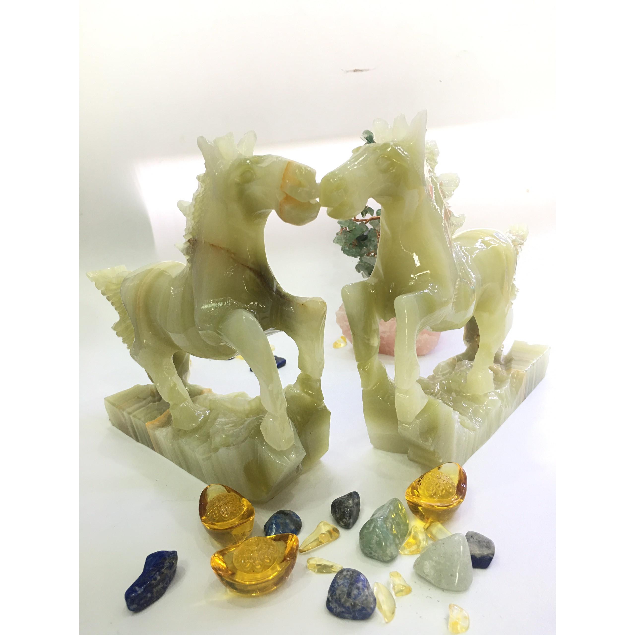 Cặp ngựa đá ngọc xanh -  dài 22cm - nặng 2,65kg/cặp