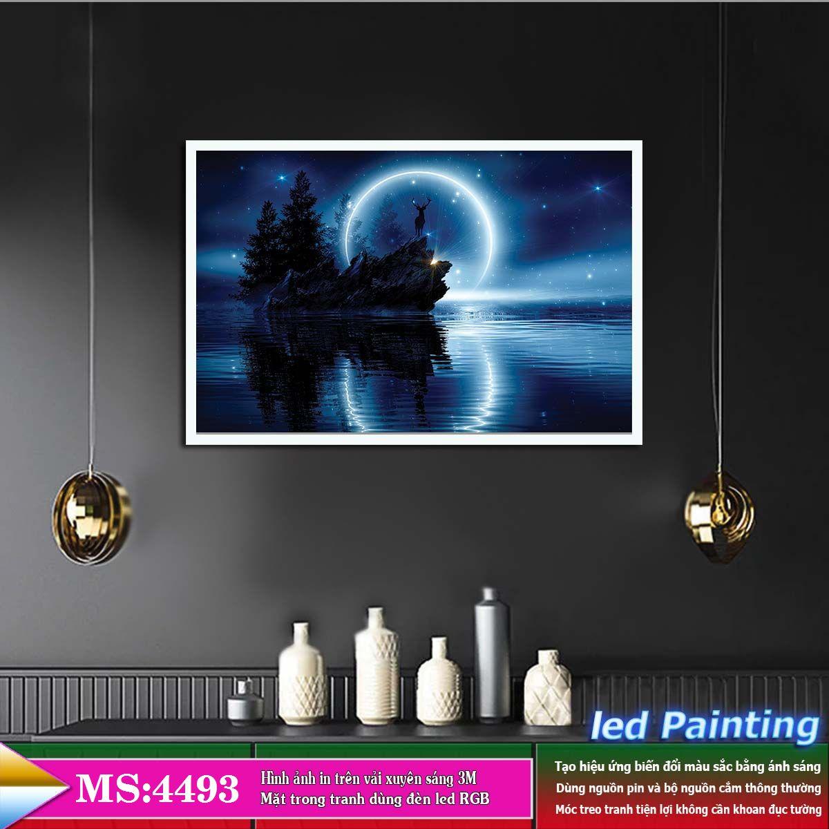 Tranh treo tường đèn led trang trí phòng khách, phòng ngủ hiệu ứng ánh sáng. KT: 60 x 40cm-MS:4493L6