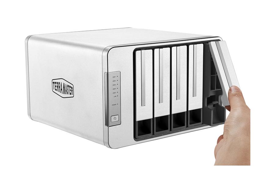 Bộ lưu trữ mạng NAS TerraMaster F5-422, LAN 10Gbps, Intel Quad-Core 1.5GHz, 4GB RAM, 670MB/s, 5 khay ổ cứng RAID 0,1,5,6,10,JBOD,Single - Hàng chính hãng
