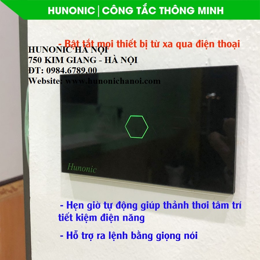 Công tắc wifi Hunonic 1 nút việt nam điều khiển bật tắt từ xa - Thiết bị  điều khiển thông minh Thương hiệu HUNONIC