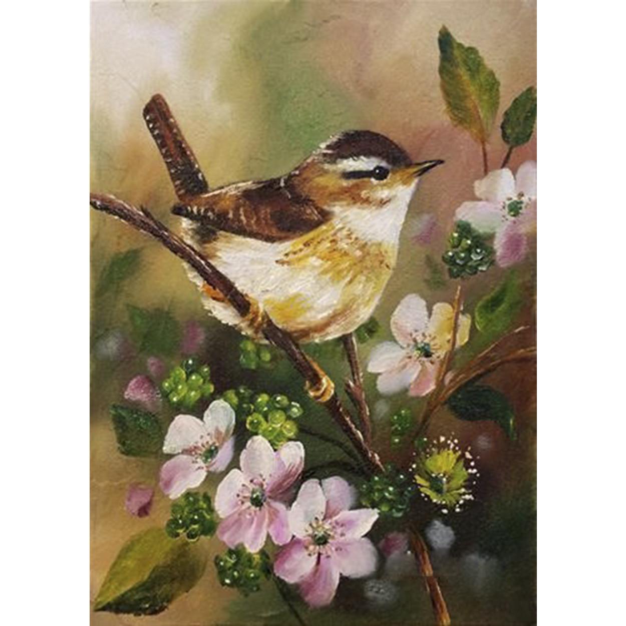 Tranh sơn dầu họa sỹ sáng tác vẽ tay: CHIM BÊN HOA (11)