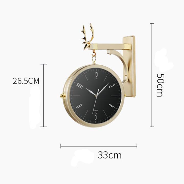 Đồng hồ treo tường viền mạ vàng cao cấp - đồng hồ phòng khách cực đẹp
