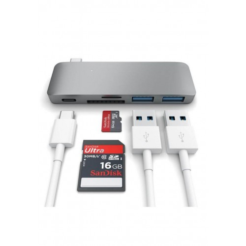 Cổng chuyển/ Hub USB Type-C 5in1 HyperDrive (Grey) - Hàng Chính Hãng