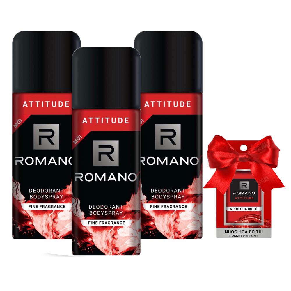 Bộ 3 chai xịt khử mùi  Romano Attitude 150ml +Tặng kèm nước hoa bỏ túi Romano 18ml (Màu ngẫu nhiên)
