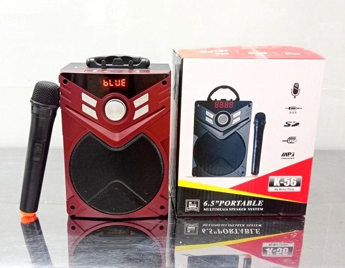 Loa nghe nhạc karaoke xách tay bluetooth k56 kèm 1 micro không dây (Giao màu ngẫu nhiên)