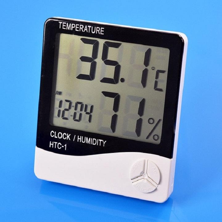 Đồng hồ thông minh để bàn kiếm máy đo nhiệt độ độ ẩm đa năng trong gia đình htc1 (Tặng móc khóa tô vít mini 3in1)