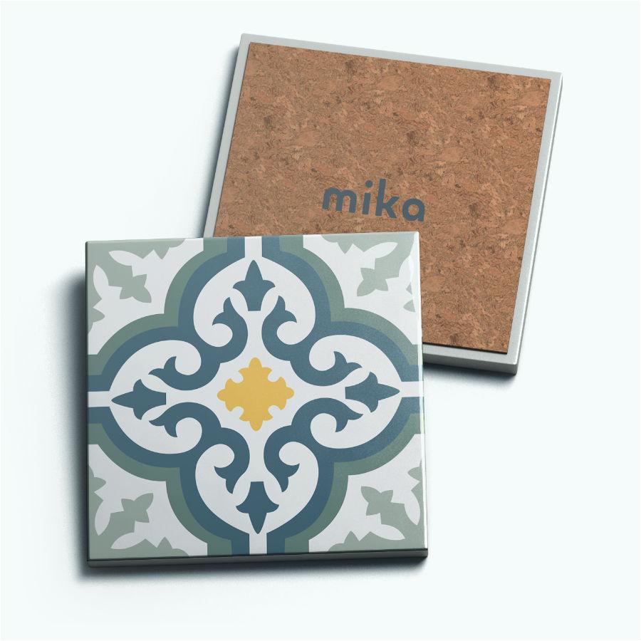 Set Đế Lót Ly Gốm Vuông Mika J-001-028-S-V