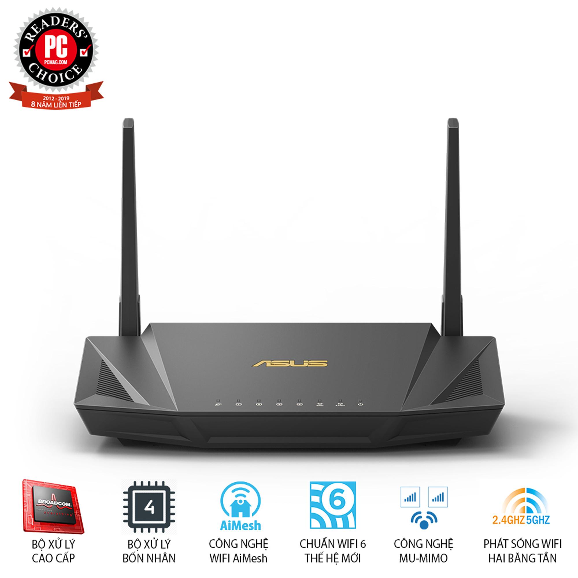 Gaming Router Wifi Asus RT-AX56U AX1800 WiFi 6 Băng Tần Kép AiMesh AiProtection MU-MIMO OFDMA - Hàng Chính Hãng