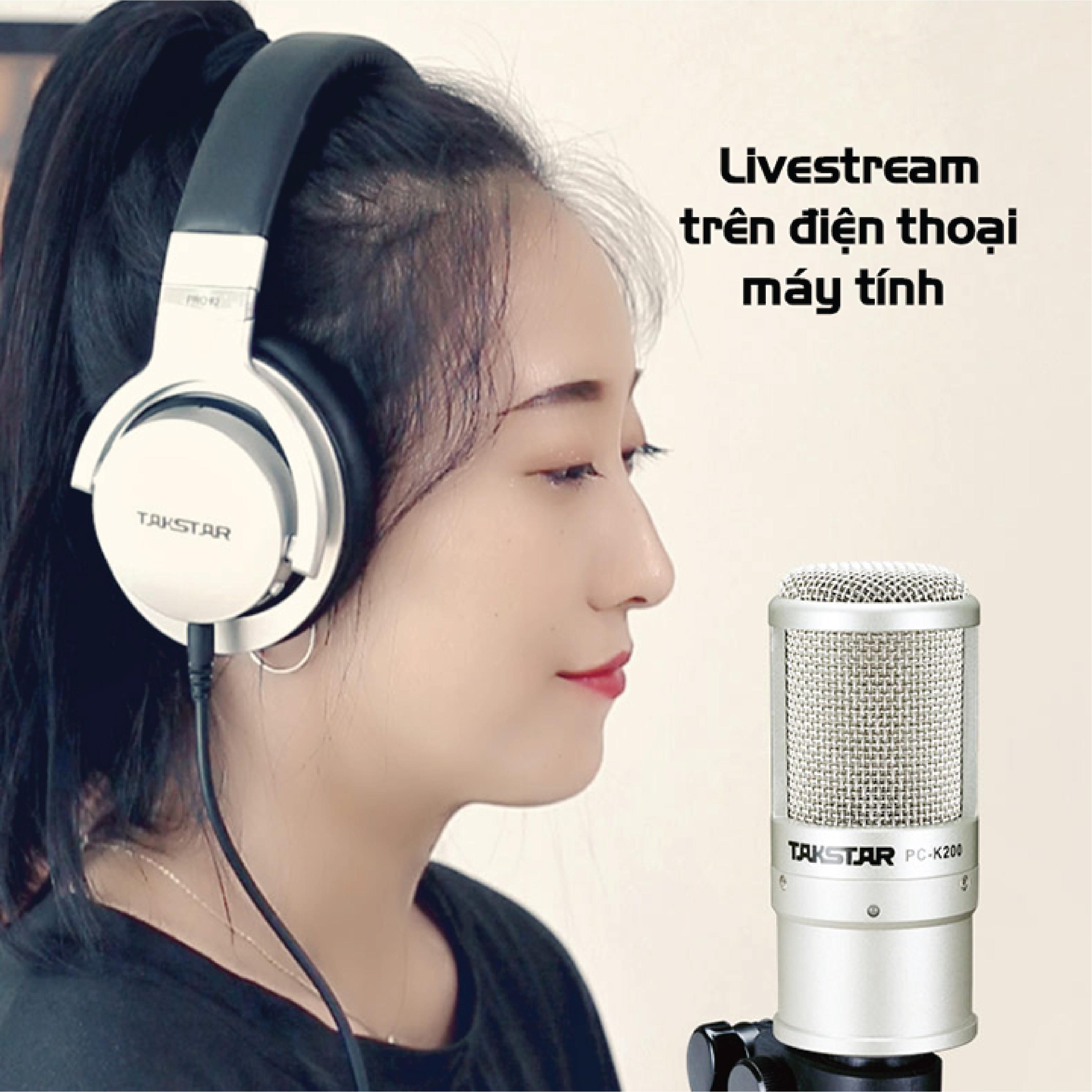 Mic thu âm Takstar PC-K200 chuyên nghiệp [HÀNG CHÍNH HÃNG]  - Micro livestream - Mic PC K200