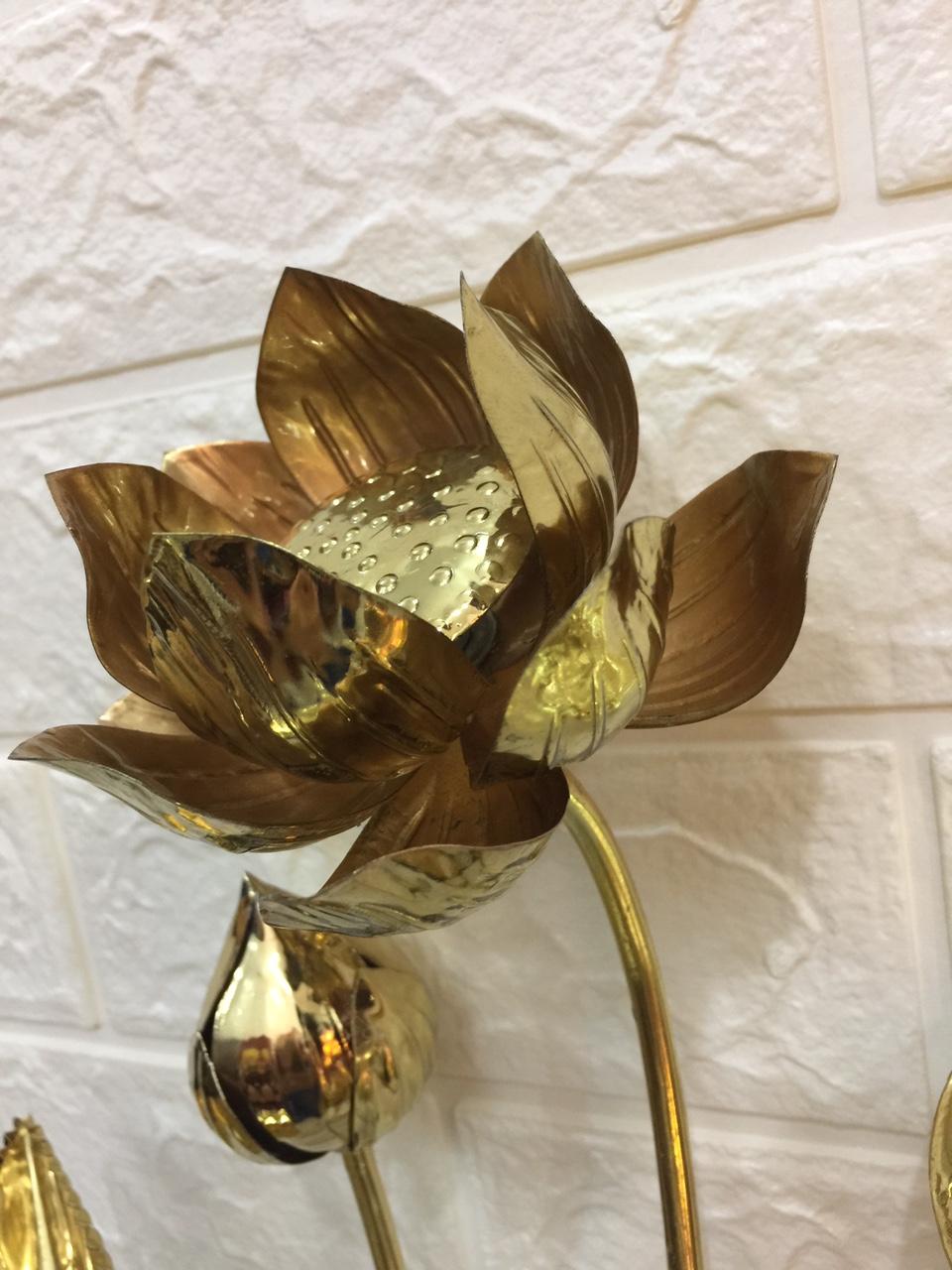 đồ thờ cúng bằng đồng  ( hoa sen đồng) combo cả lọ hoa b794