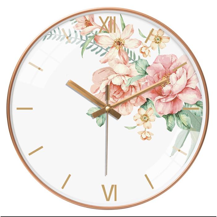 Đồng hồ treo tường tròn phong cách Bắc Âu hoa mẫu đơn 046 25cm