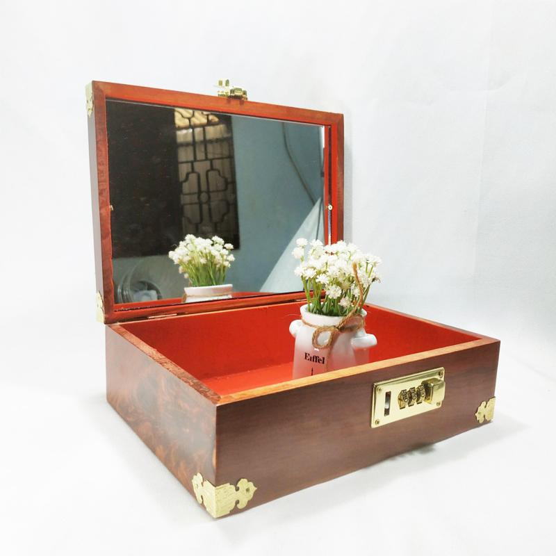 Hộp đựng đồ trang sức, con dấu gỗ hương mặt chữ thọ khóa số