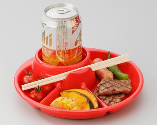 Khay Ăn 3 Ngăn Cho Bé Có Kèm Khay Để Cốc, Thìa Dĩa - Màu Đỏ - Nội Địa Nhật Bản