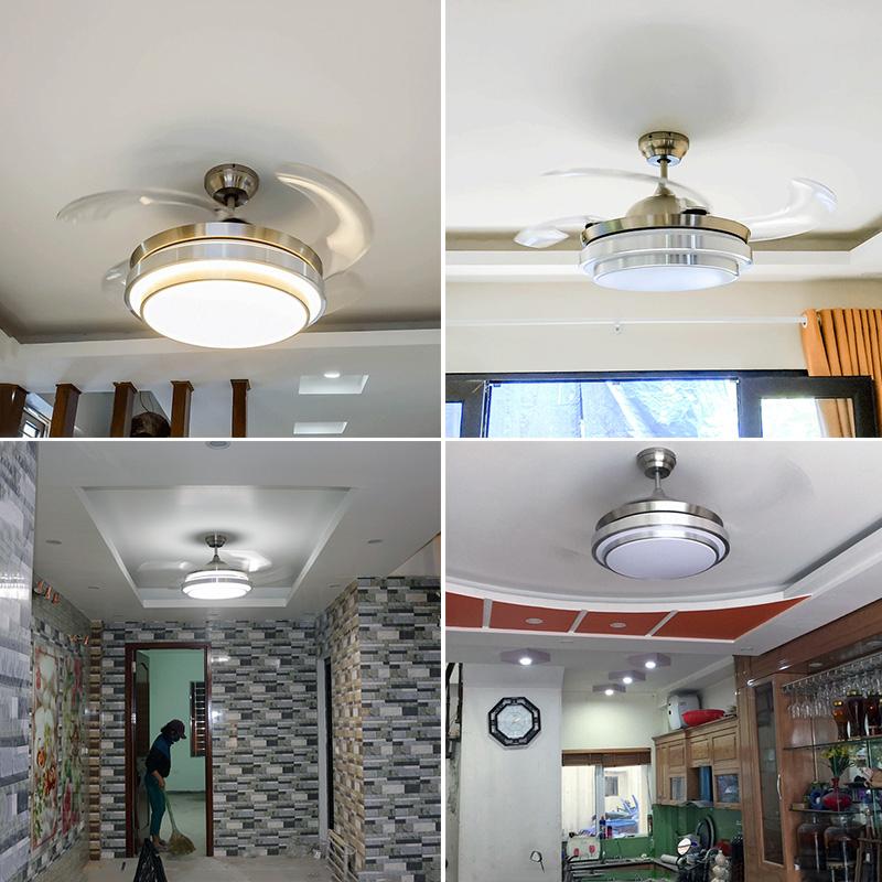 Quạt trần đèn trang trí phòng khách đẹp hiện đại - HLFAN010