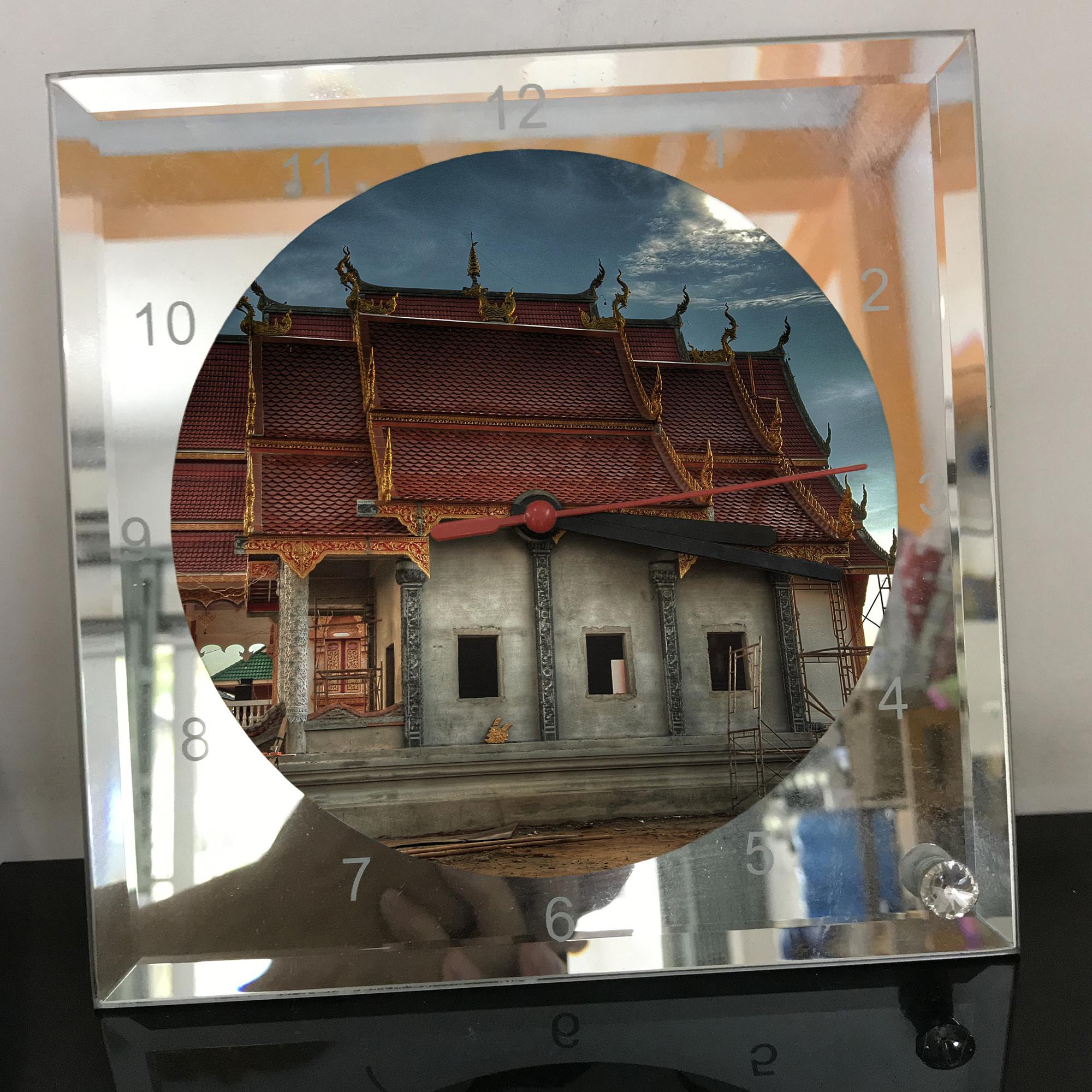 Đồng hồ thủy tinh vuông 20x20 in hình Temple - đền thờ (62) . Đồng hồ thủy tinh để bàn trang trí đẹp chủ đề tôn giáo