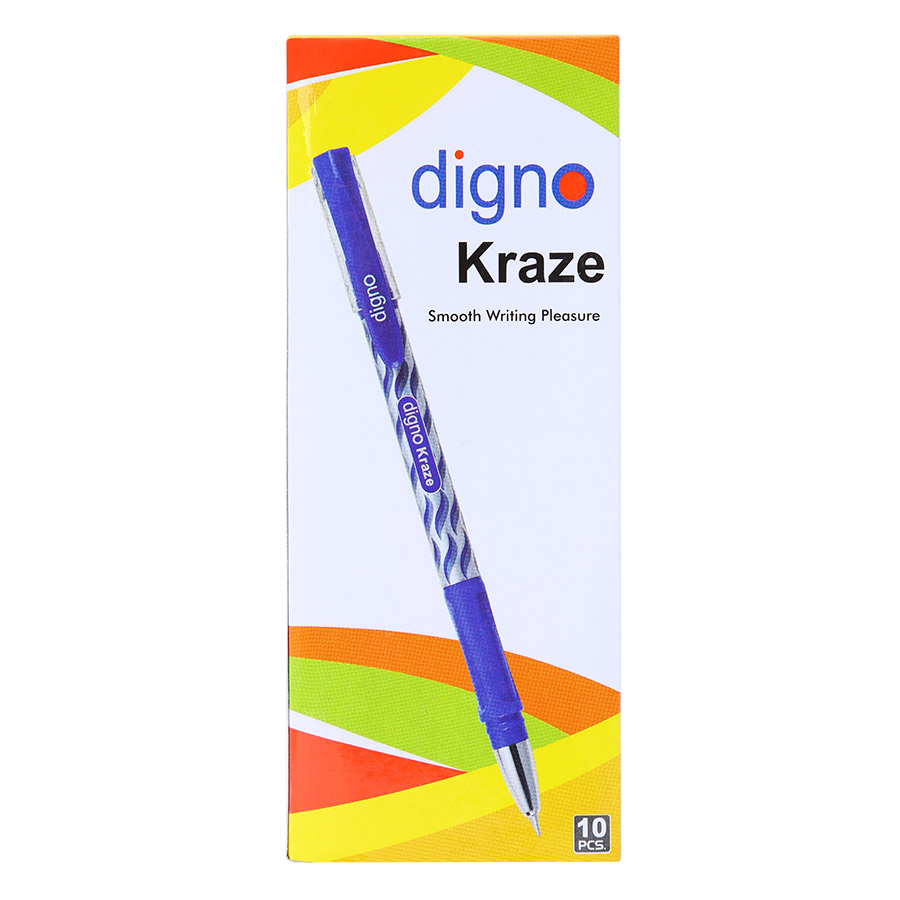 Hộp 10 Cây Viết Bi Gel Đậy Nắp Digno Kraze - Mực Xanh