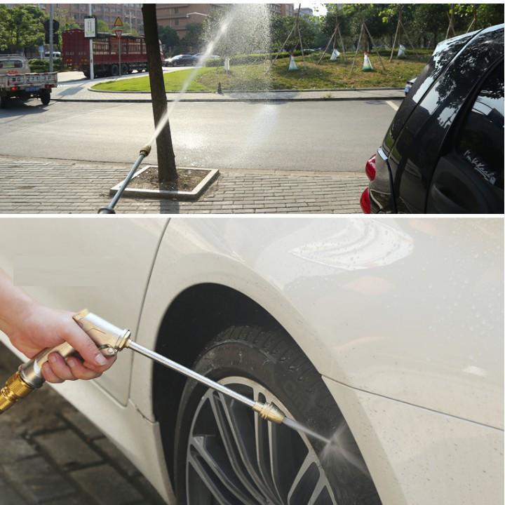 Bộ dây vòi xịt nước rửa xe, tưới cây đa năng, tăng áp 3 lần, loại 15m 206701-3 đầu đồng,cút,nối nhựa vàng