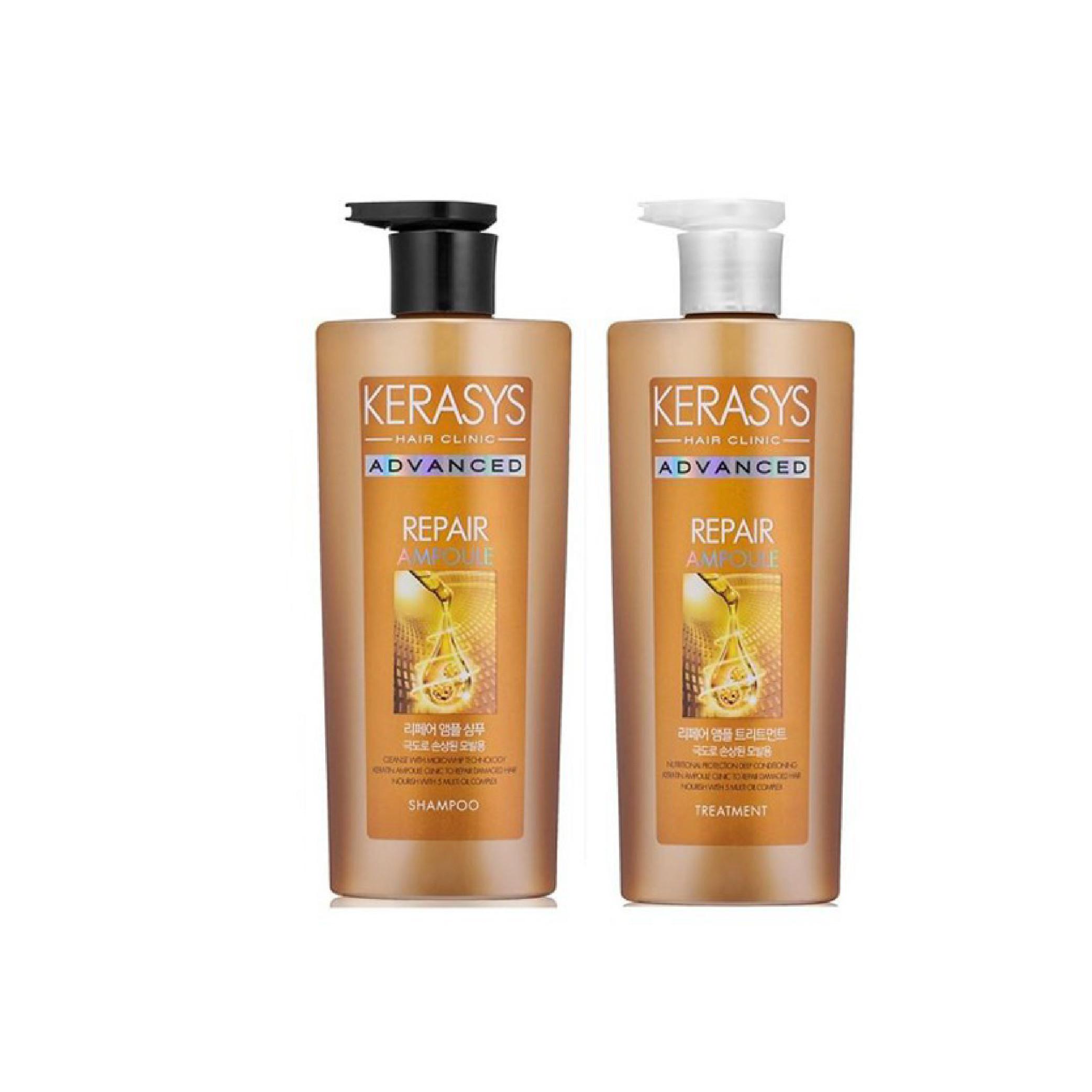 Bộ dầu gội, xả cao cấp chăm sóc chuyên sâu và phục hồi tóc hư tổn nặng KERASYS ADVANCED AMPOULE REPAIR 600ml - Hàn Quốc Chính Hãng