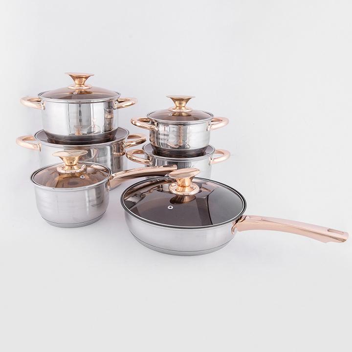 Bộ nồi cao cấp sử dụng cho mọi loại bếp- 6 món 12 chi tiết Thế Hệ Mới