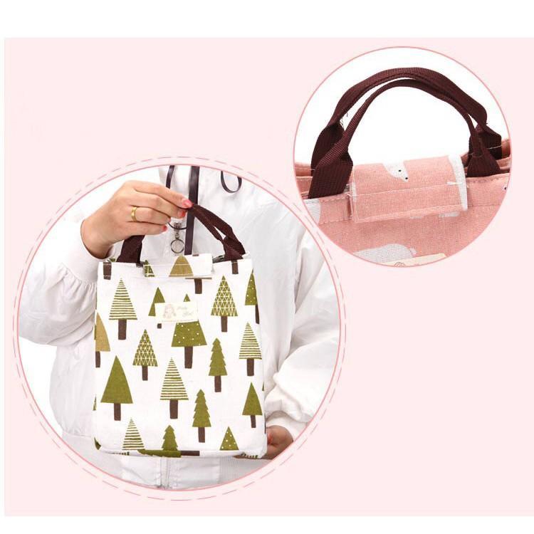 Túi đựng hộp cơm giữ nhiệt hoạ tiết hình NEW