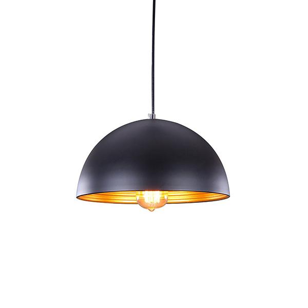Đèn thả trang trí bàn ăn, nội thất mũ cối lòng vàng - Tặng kèm bóng LED - Đen