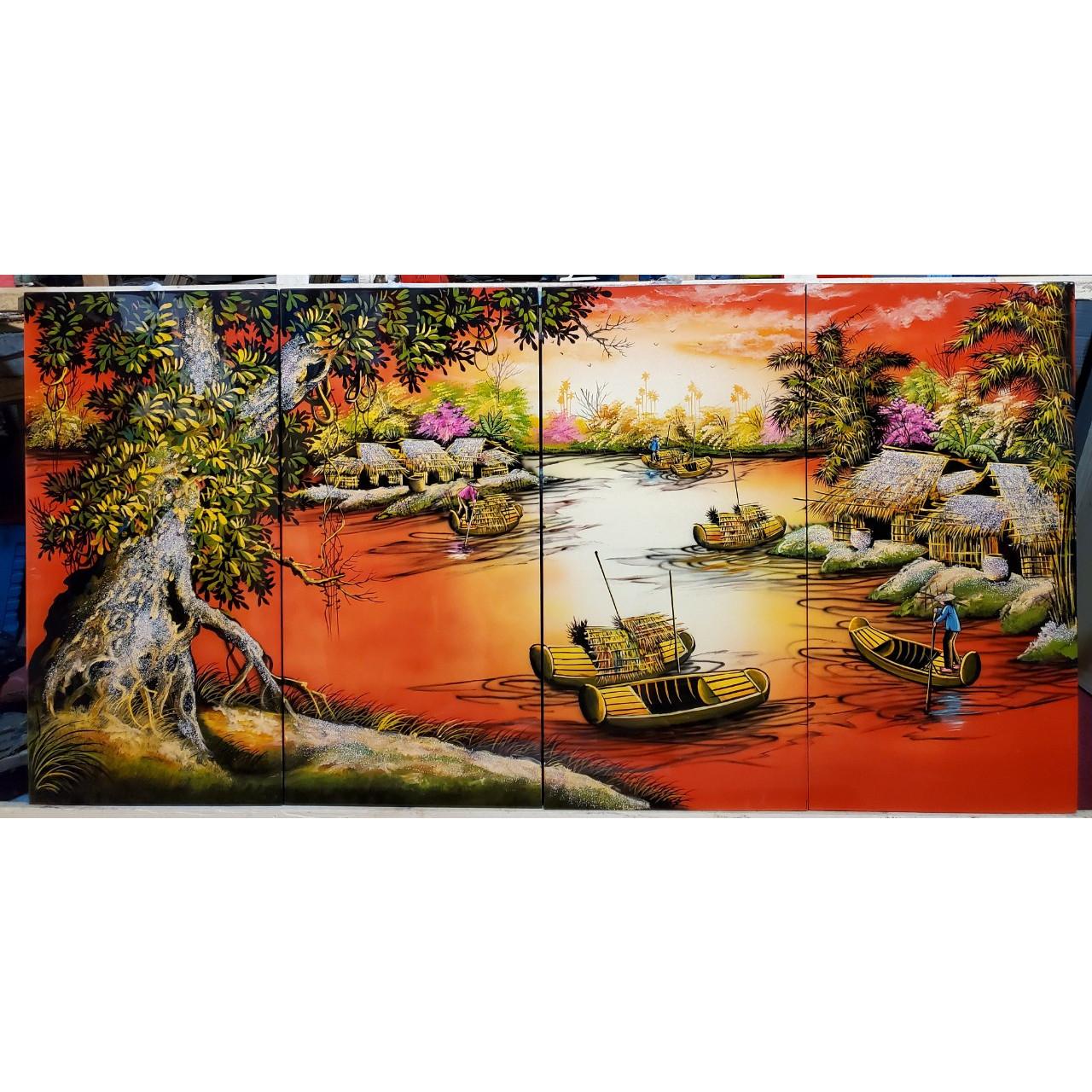 Tranh sơn mài vẽ - Phong Cảnh Quê Hương Thanh Bình