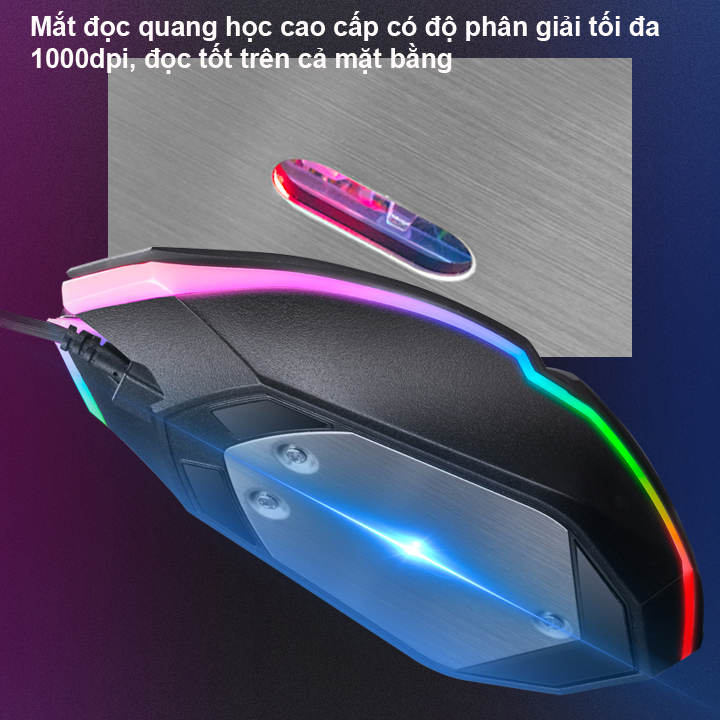 Chuột Game K-SNAKE M5 Đèn led RGB màu tự thay đổi.