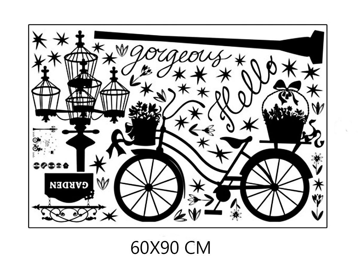Decal dán tường xe đạp và cột đèn đen sk9264