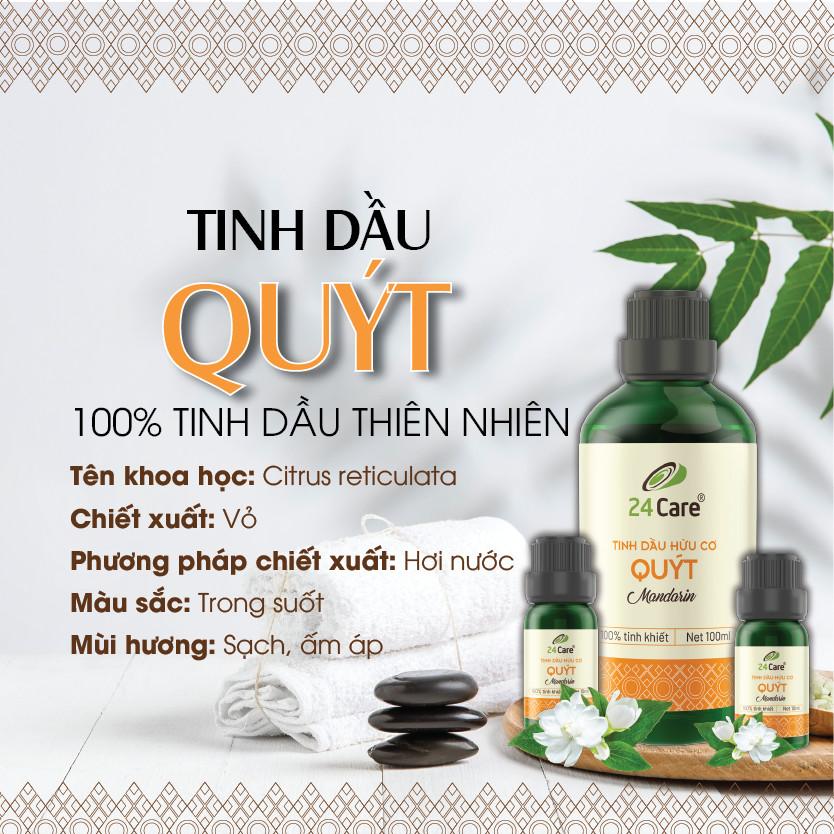 Combo 2 Tinh dầu Quýt + Bạc Hà 24Care 10ml/Chai