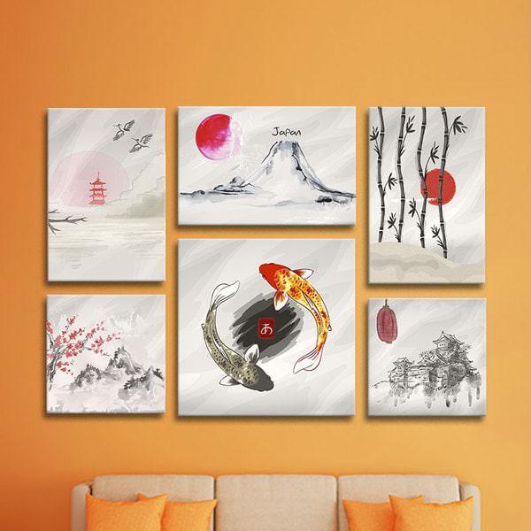 Bộ 6 Tranh Canvas Không Viền Treo Tường Phong Cảnh Nhật Bản W577