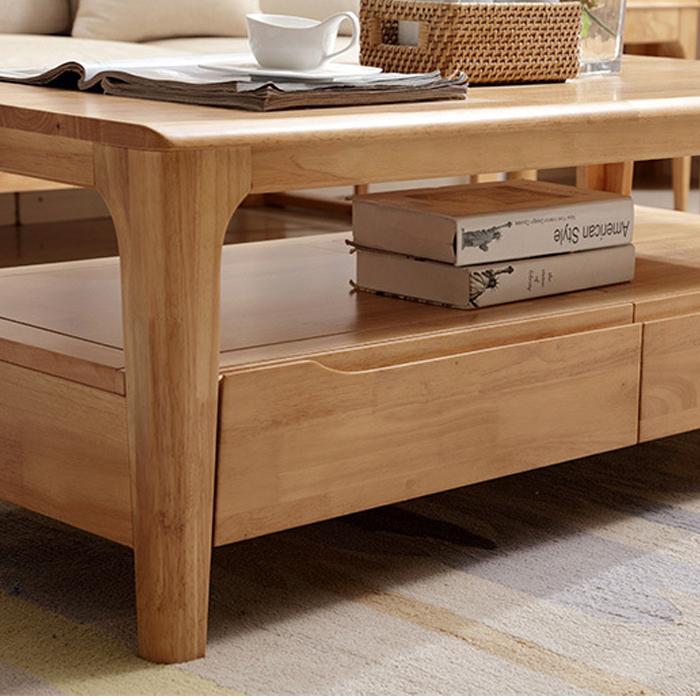 Bàn trà có ngăn kéo chất liệu gỗ tự nhiên 120x60cm CF22