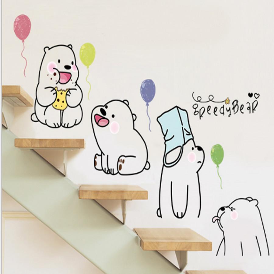 Decal dán tường Gấu con kute _SLE