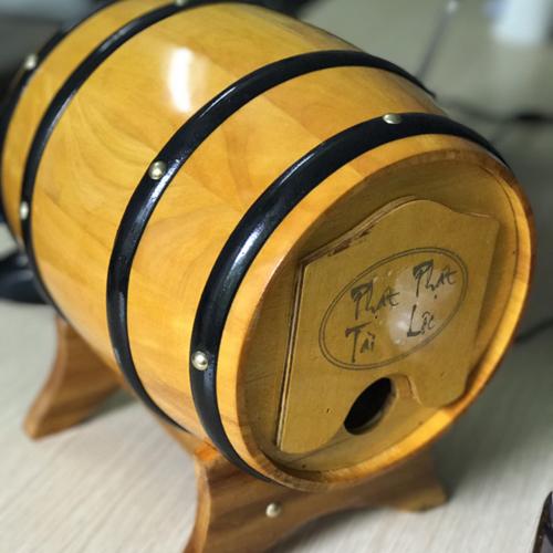 Trống gỗ đựng rượu vang - Màu vàng