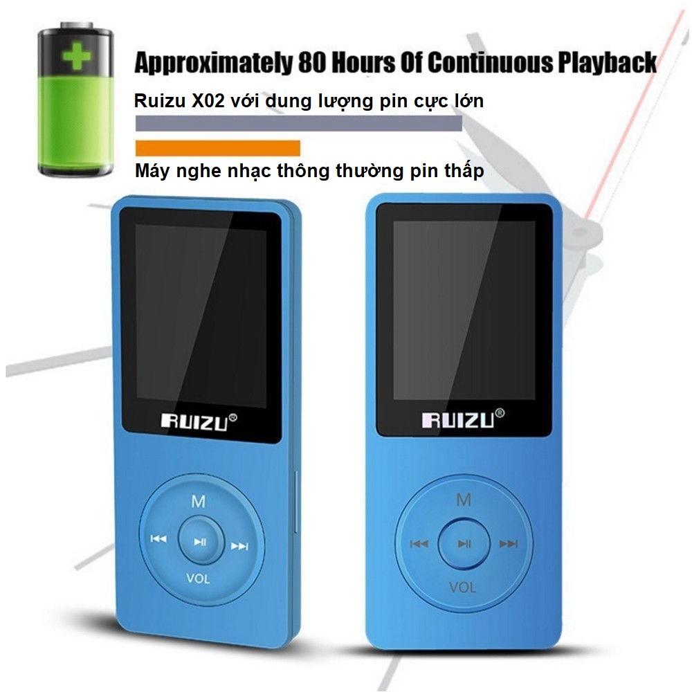 Máy nghe nhạc mp3 Ruizu X02 bộ nhớ trong 8G - Hàng nhập khẩu