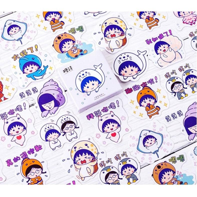Hộp 45 Miếng Dán Sticker Trang Trí Sakura Momoko