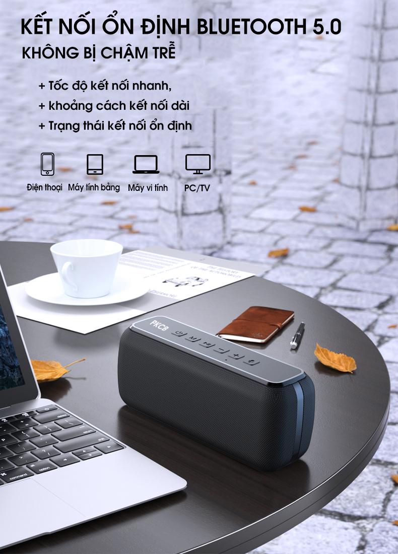Loa bluetooth 5.0 60W công suất lớn chống nước IPX5 sạc nhanh Type - C cộng nghệ điều khiển giọng nói PKCB PF1007 - Hàng chính hãng