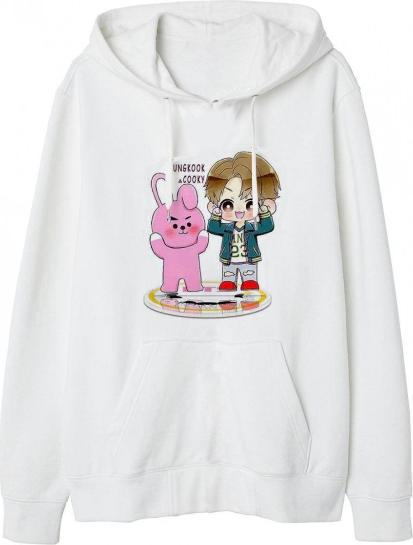 Áo hoodie nữ Chibi JungKook Và Cooky - Trắng - L