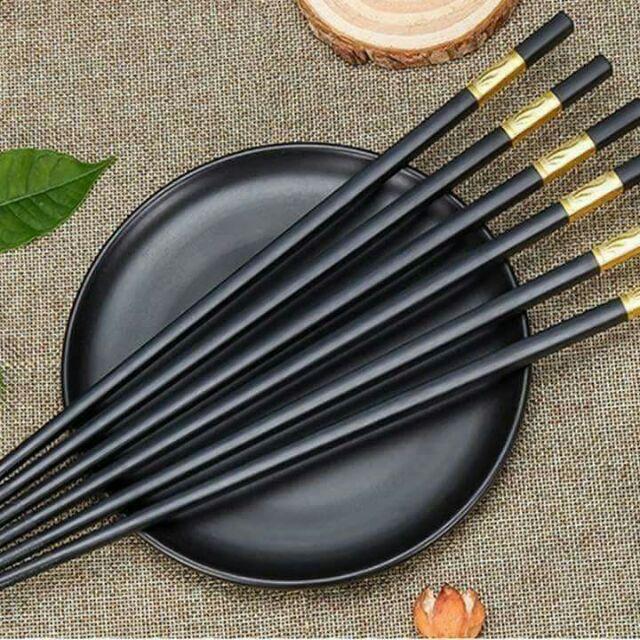 Đũa Ăn Cao Cấp - Bộ 10 đôi đũa Sừng khảm vàng Quý tộc