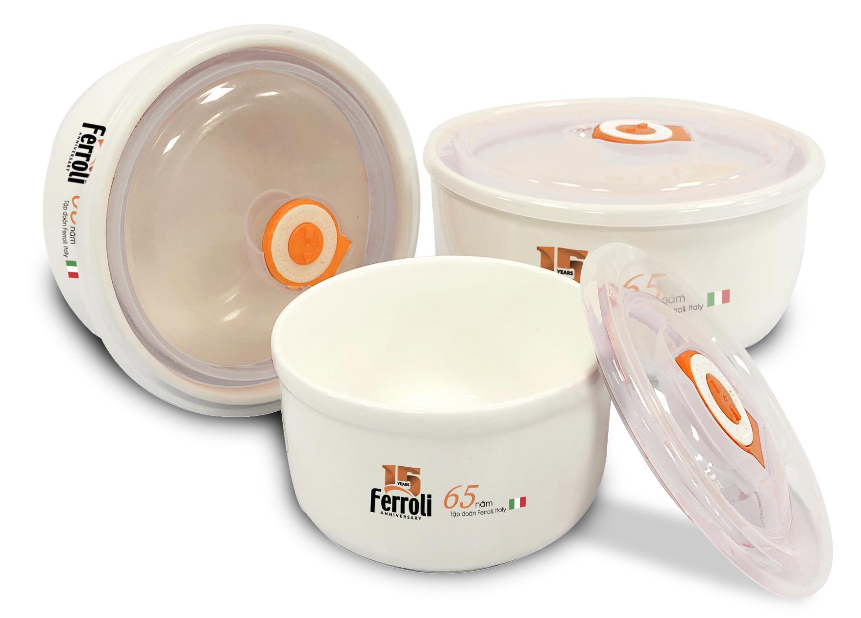 Bộ tô sứ Ferroli 3 chiếc có nắp hút chân không cao cấp - hàng chính hãng