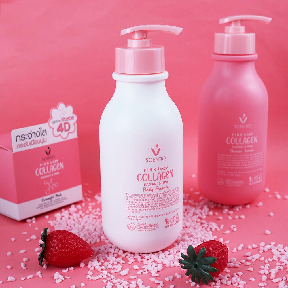 Dưỡng thể dưỡng trắng và sáng mịn da Scentio Pink Collagen Body Essence 350ml