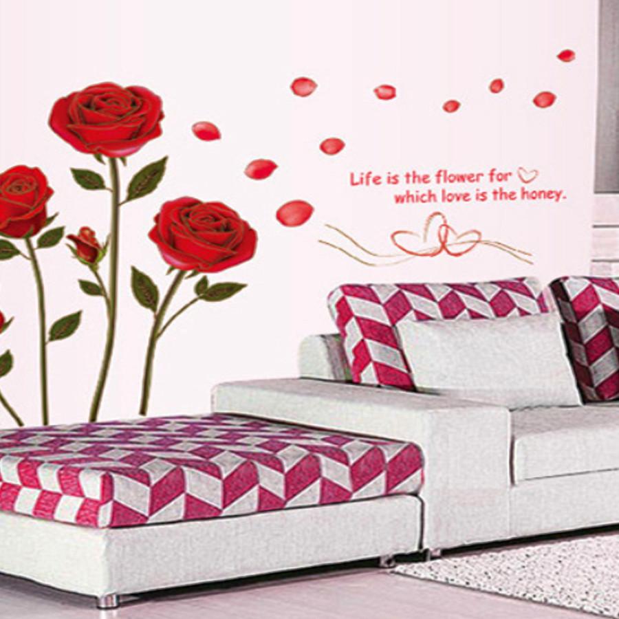 decal dán tường LUVINA - hoa hồng tình yêu màu đỏ